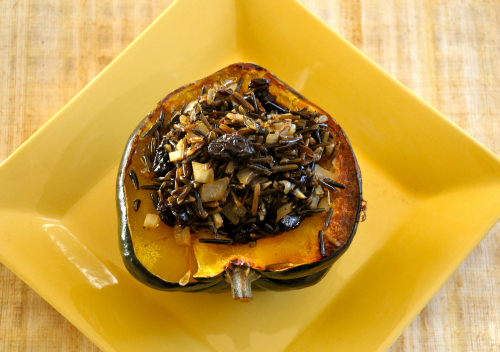 Wild Rice Stuffed Squash with Pecans & Sweet Dried Cherries