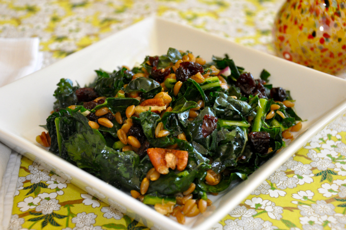 ... Vegan Should Eat & Kale Salad with Farro, Pecans & Dried Cherries