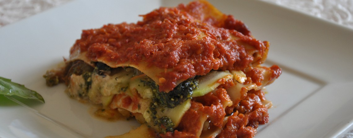 Ordinary Vegan Zucchini and Tomato Lasagna with Basil Pistachio Pesto
