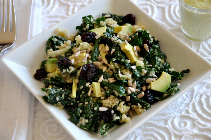 Kale & Quinoa Salad with Vegan Green Goddess Dressing