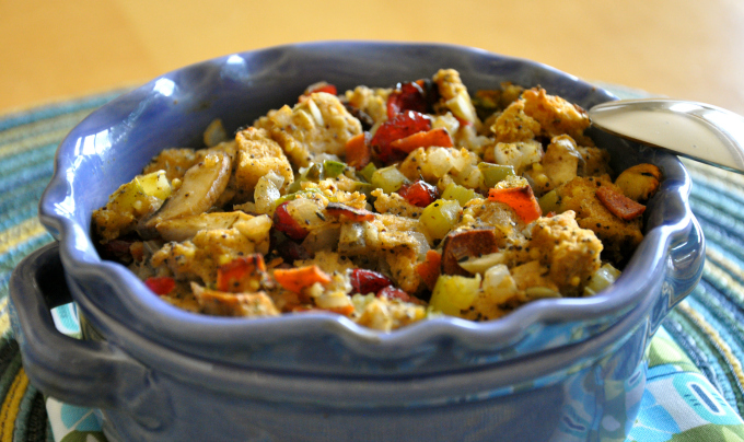 Vegan Stuffing with Tempeh Bacon, Mushrooms, Cranberries and Pistachios