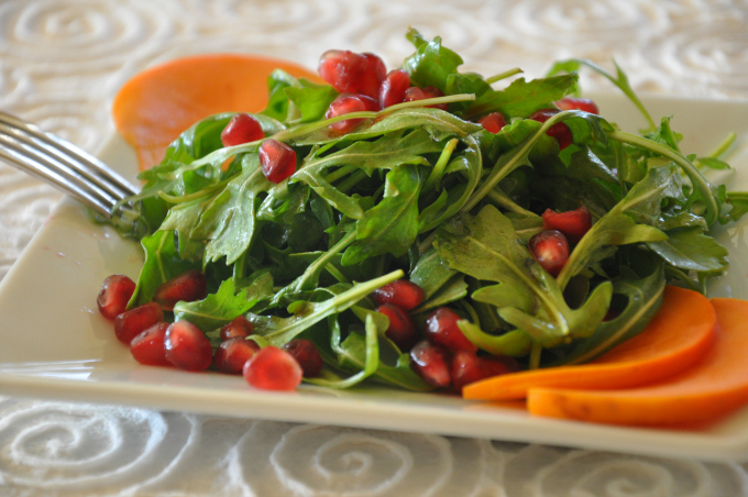 arugula salad with pomegranate & persimmons