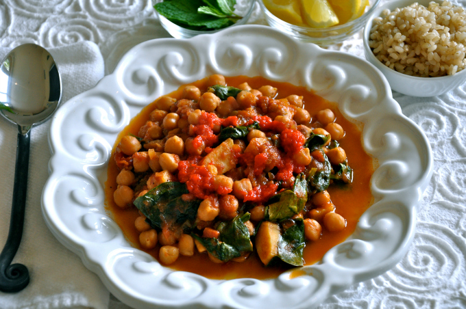 Chickpea Stew with Spinach, Lemon, Mint Leaves and Red Pepper Purée
