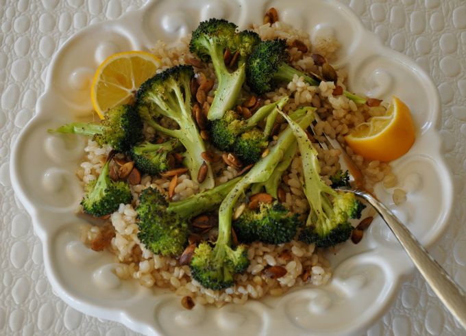 Roasted Broccoli & Pumpkin Seeds Over Brown Rice
