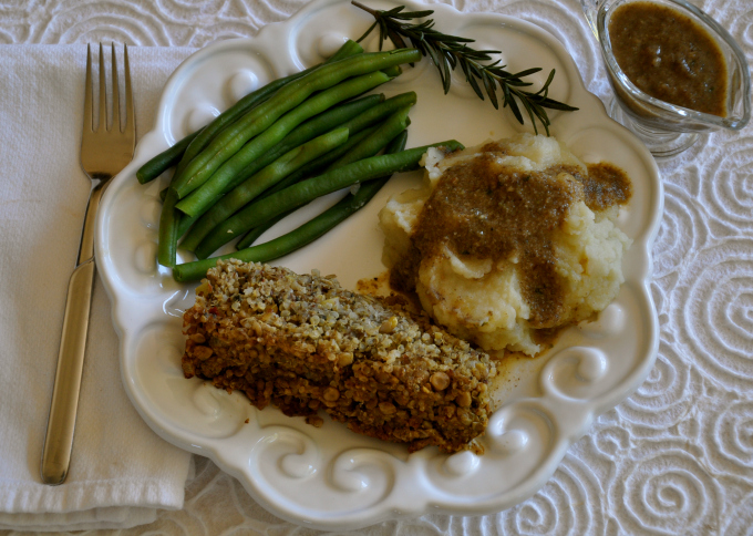 Quinoa Lentil Loaf With Mashed Potatoes & Gravy