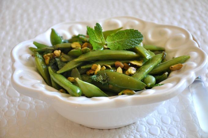 Sugar Snap Peas With Mint, Lemon & Pistachios