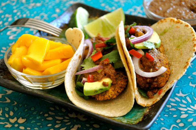 Falafel Tacos with Spicy Mole Sauce