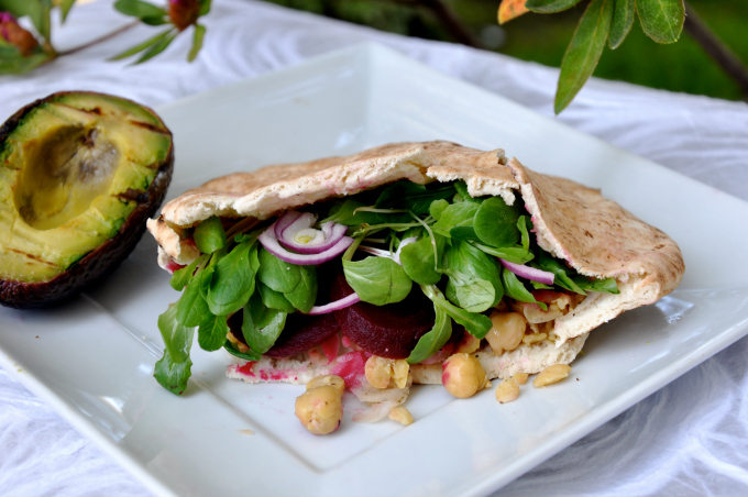 Chickpea Sandwich with Sliced Beets Pita Sandwich