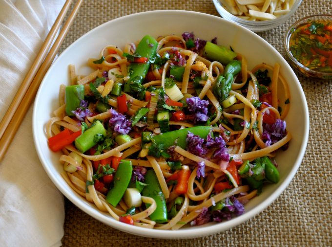 Asian Pasta Salad with Kale, Cabbage, Asparagus and Sugar Snap Peas