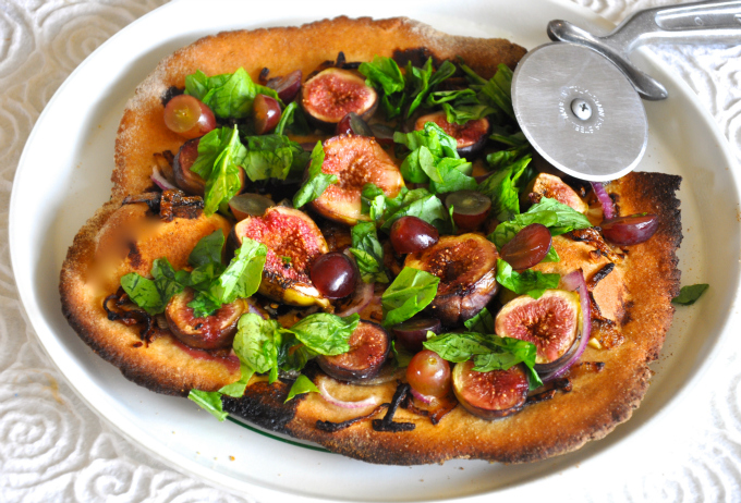 Fig & Arugula Flatbread with Grapes & Balsamic Vinegar