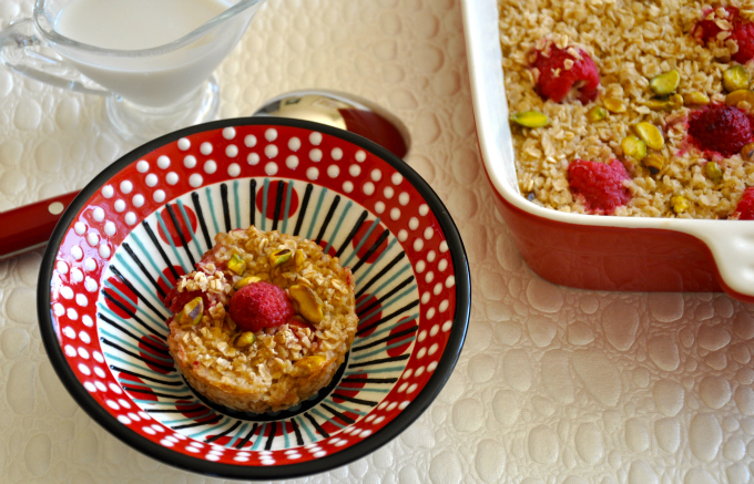 Baked Oatmeal with Raspberries & Pistachios & Raising Vegan Children