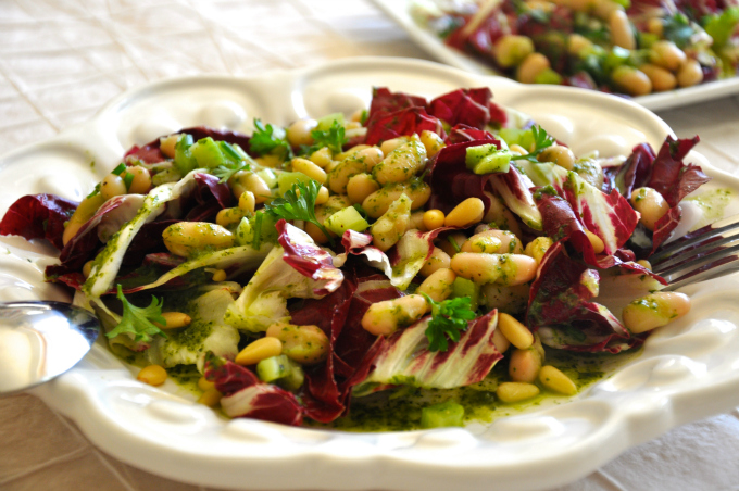 Cannellini Bean Salad with Radicchio, Pine nuts and Parsley Vinaigrette