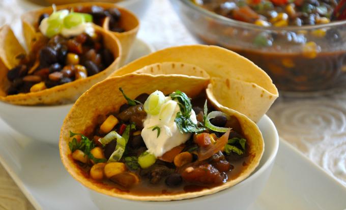 Black Bean Chili in Tortilla Bowls