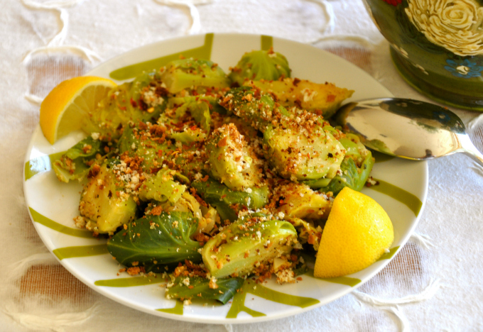 Brussels Sprouts with Lemon, Garlic & Toasted Bread Crumbs