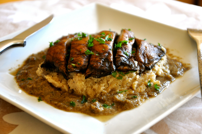 Grilled Portobello Mushroom over Mashed Cauliflower Smothered in Gravy