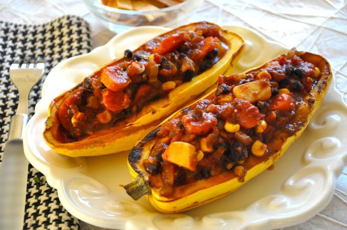 Chili Stuffed Squash with Black Beans