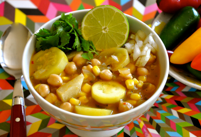 Vegan Red Chile Posole with Chickpeas, Jicama, Corn & Squash