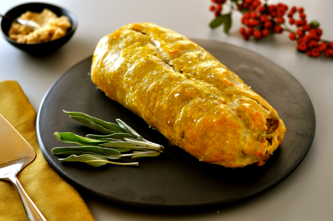 A savory and delicious vegan roast wellington.