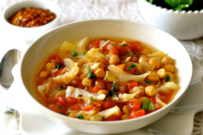 Chickpea Soup with Cabbage, Tomatoes & Basil