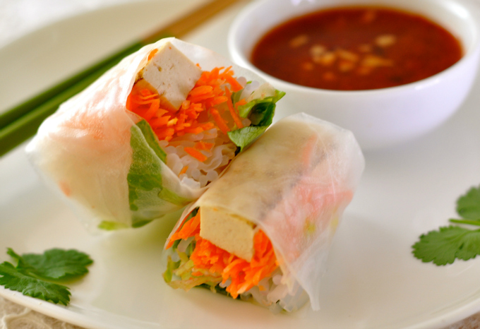 Vegan Spring Rolls with Hot & Sweet Dipping Sauce