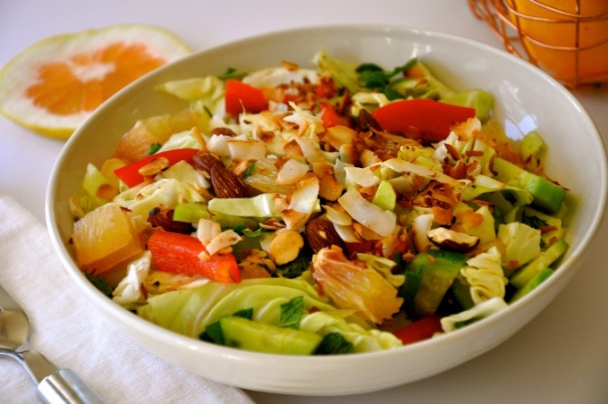 Pomelo Salad with Toasted Almond & Coconut