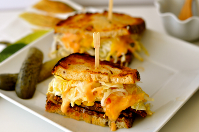 Seriously delicious vegan reuben sandwich with spicy Russian dressing