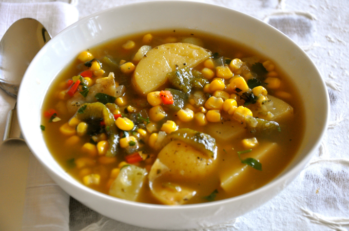 Roasted Poblano Soup with Potatoes & Corn