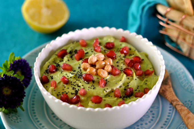 Avocado and Chickpea Hummus with Pomegranate Seeds