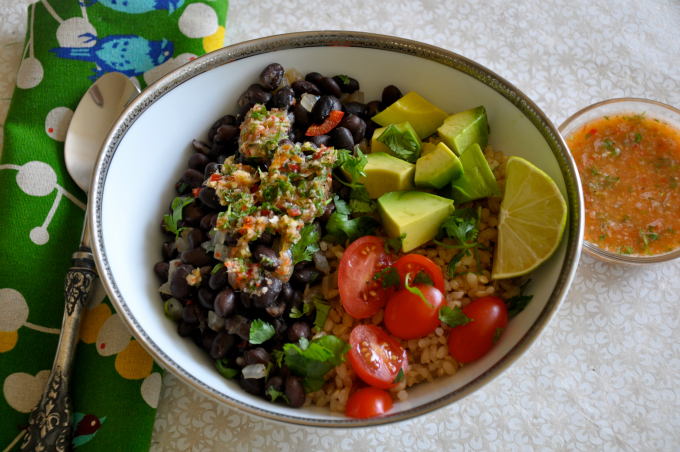 Brown Rice and Beans with Ginger Lime Chile Salsa