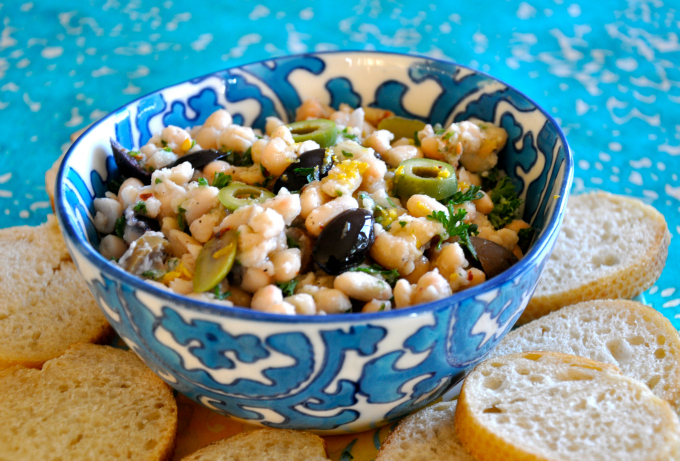 White Bean Dip with Black & Green Olives