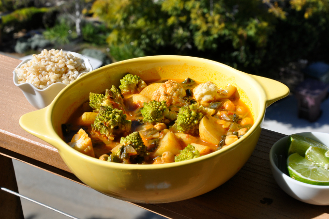 Golden Chickpea Curry with Roasted Cauliflower & Spinach