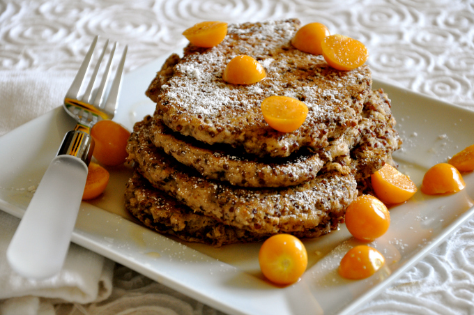 Red Quinoa Pancakes with Golden Gooseberries