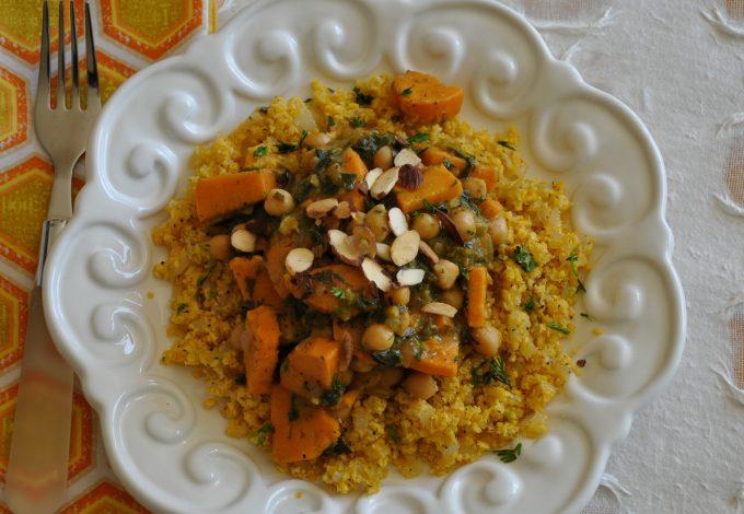 Sweet Potato Curry with Chickpeas & Orange Cauliflower Rice