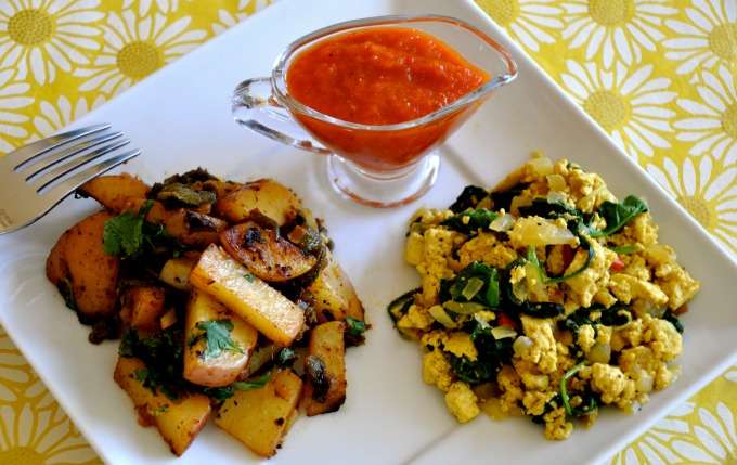 Poblano Home Fries, Tofu Spinach Scramble & Spicy Bloody Mary Sauce