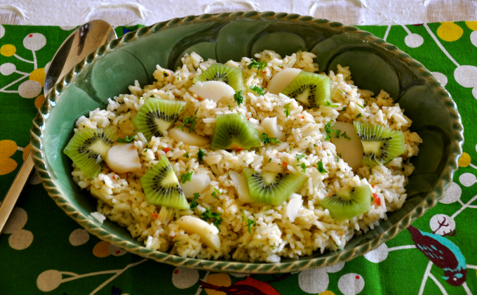 Chilled Rice Salad with Water Chestnuts, Kiwi and Lime