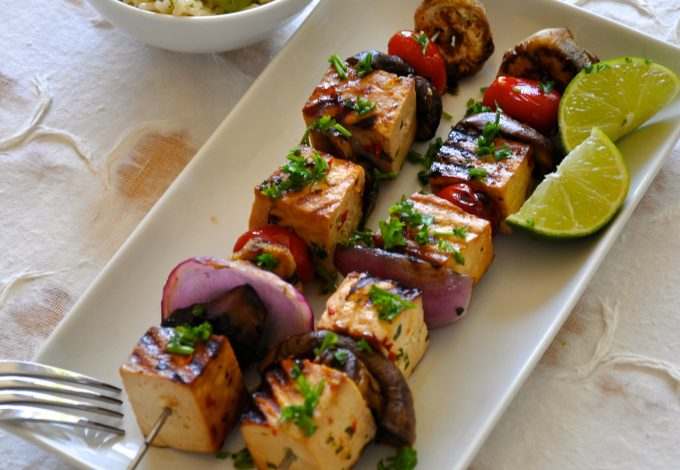 Grilled Tofu & Vegetable Shish Kebab with Cold Rice Salad