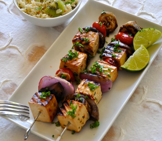 Grilled Tofu & Vegetable Shish Kebab with Cold Rice Salad
