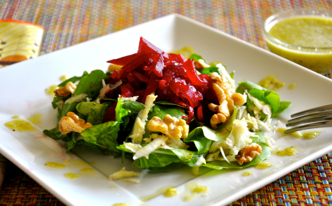 Roasted Beet Salad with Arugula, Walnuts & Leek Vinaigrette