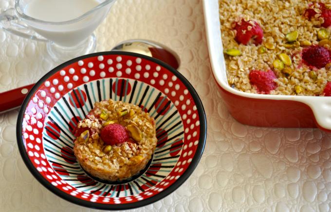 Baked Oatmeal with Raspberries & Pistachios & Raising Vegan Children