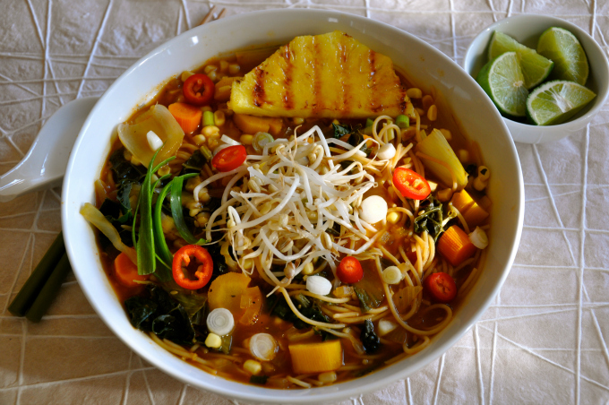 Asian Noodle Soup with Corn, Carrots & Grilled Pineapple