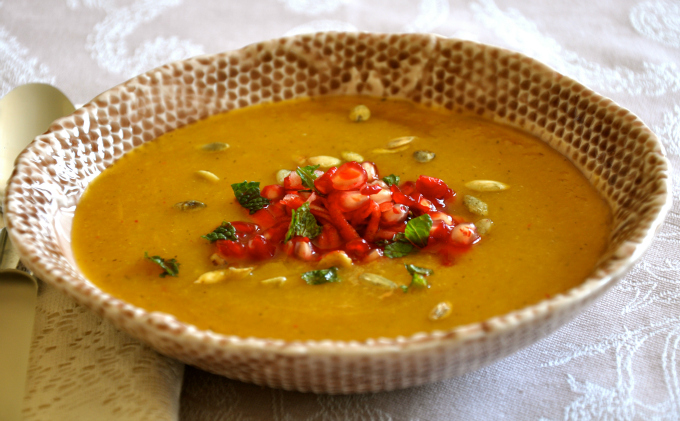 Butternut Squash Soup with Apple & Pomegranate Salsa