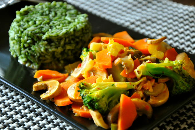 Spicy Lemongrass Stir-Fry with Green Rice