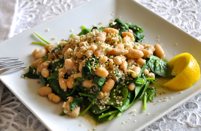 Hemp Seeds, Cannellini Beans and Greens