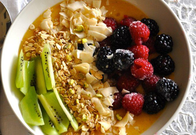 Healthy Vegan Breakfast Bowl with Mango Pudding