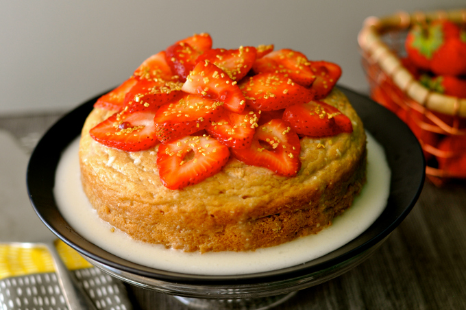 Vegan Tres Leches Cake With Strawberries