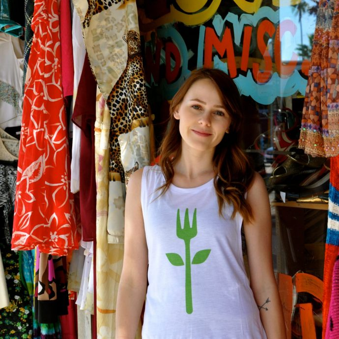 Spread your compassion with Ordinary Vegan's beautiful short sleeved tulip fork T-Shirts perfect for the gym, yoga or hanging out.