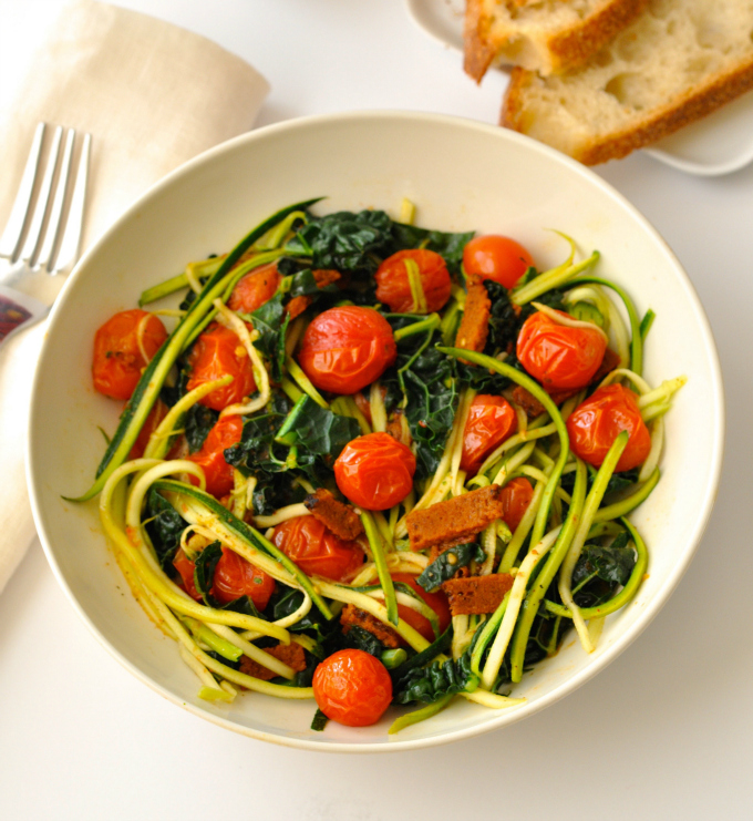 Zoodles with Vegan Bacon, Cherry Tomatoes & Kale