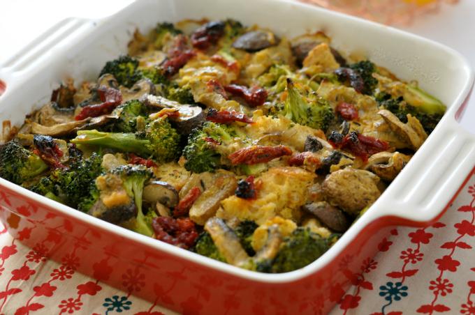 Creamy Broccoli Casserole with Mushrooms & Sun-Dried Tomatoes