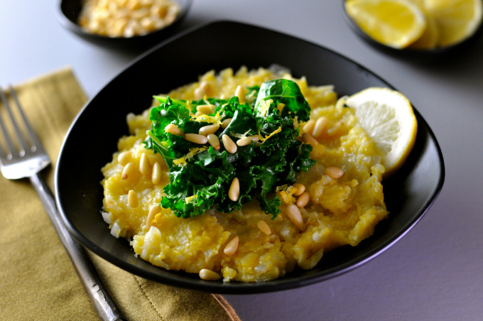 Creamy Polenta with Cabbage Topped With Greens & Pine Nuts