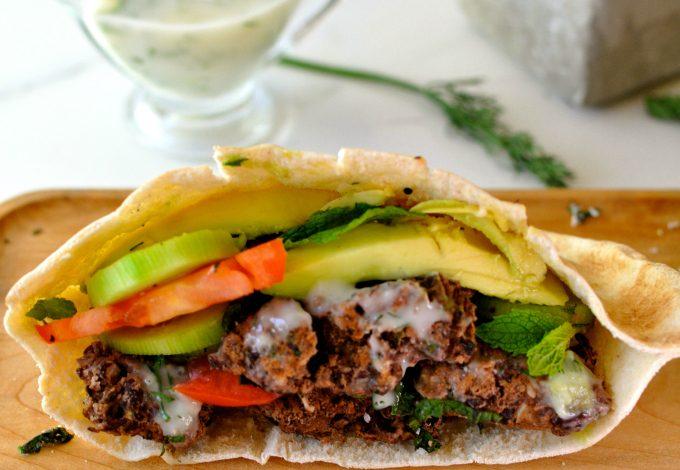 Vegan Burger with Creamy Cucumber Sauce